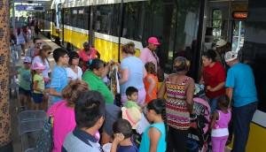 Riders board DART outside of the Dallas Zoo.