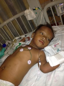 Marvin resting after his heart surgery at Children's Health in Dallas