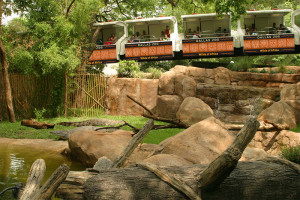 The renovated monorail will have an all-new look, as shown in this graphic of the train over the Nile crocodile habitat, in addition air-conditioned cars.