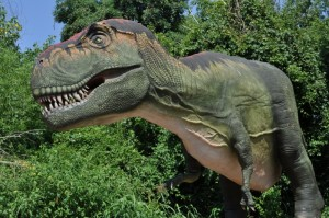 An 18-foot-tall, 43-foot-long Tyrannosaurus rex that moves and roars is one of more than 20 dinosaurs in our upcoming Giants of the Jurassic exhibit./Billings Productions Inc.