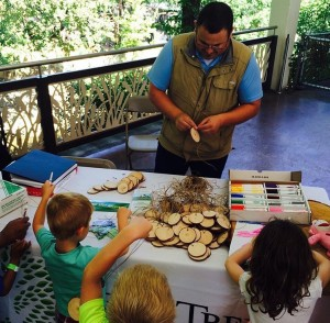 Making tree cookie necklaces with Texas Trees Foundation.