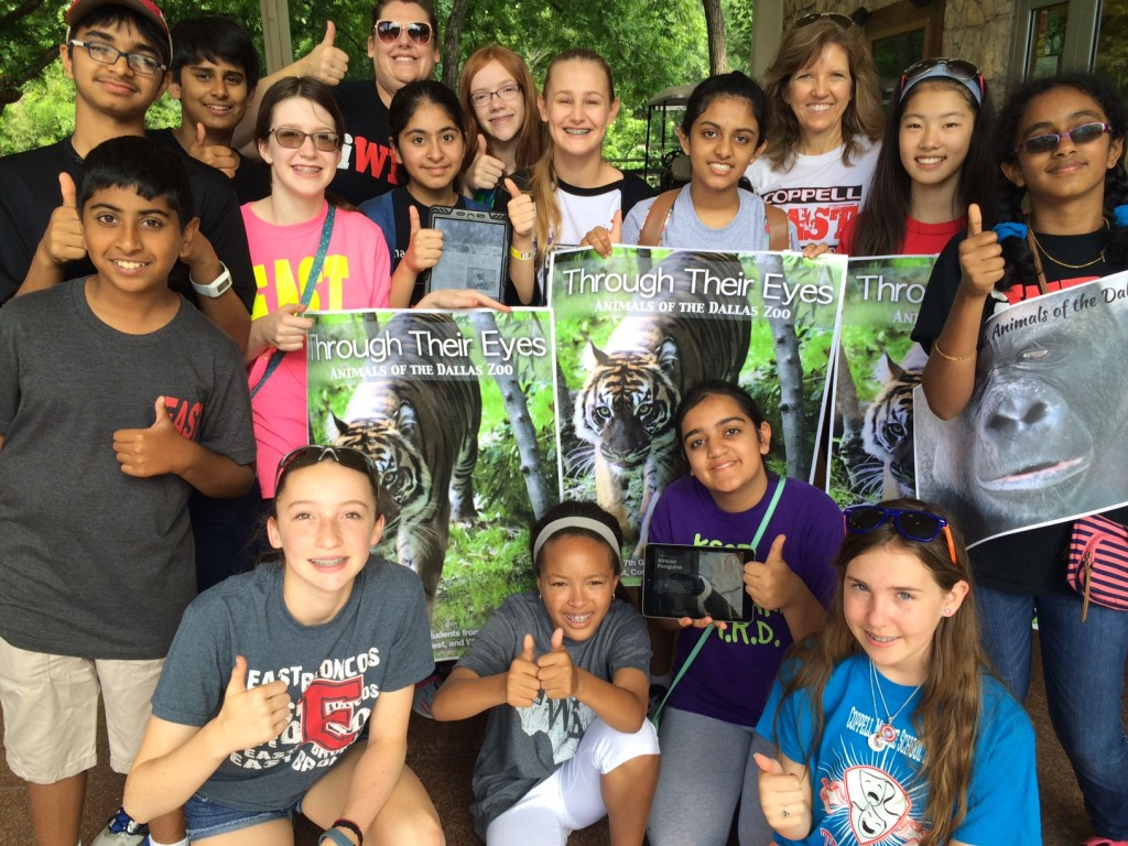 Students that worked on the interactive book showed off their creation at the Dallas Zoo.