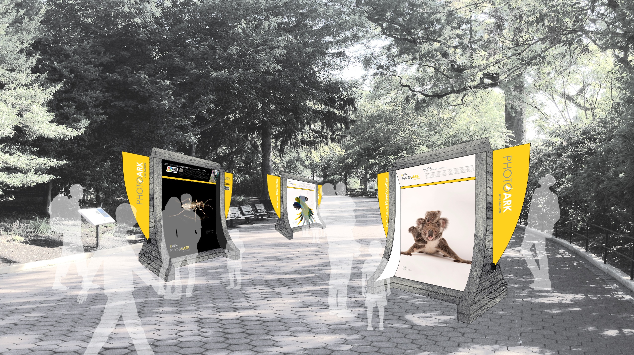 Artistic rendering of the outdoor Photo Ark display kiosks for zoos. Each structure is 8 feet tall./Rendering by National Geographic Museum