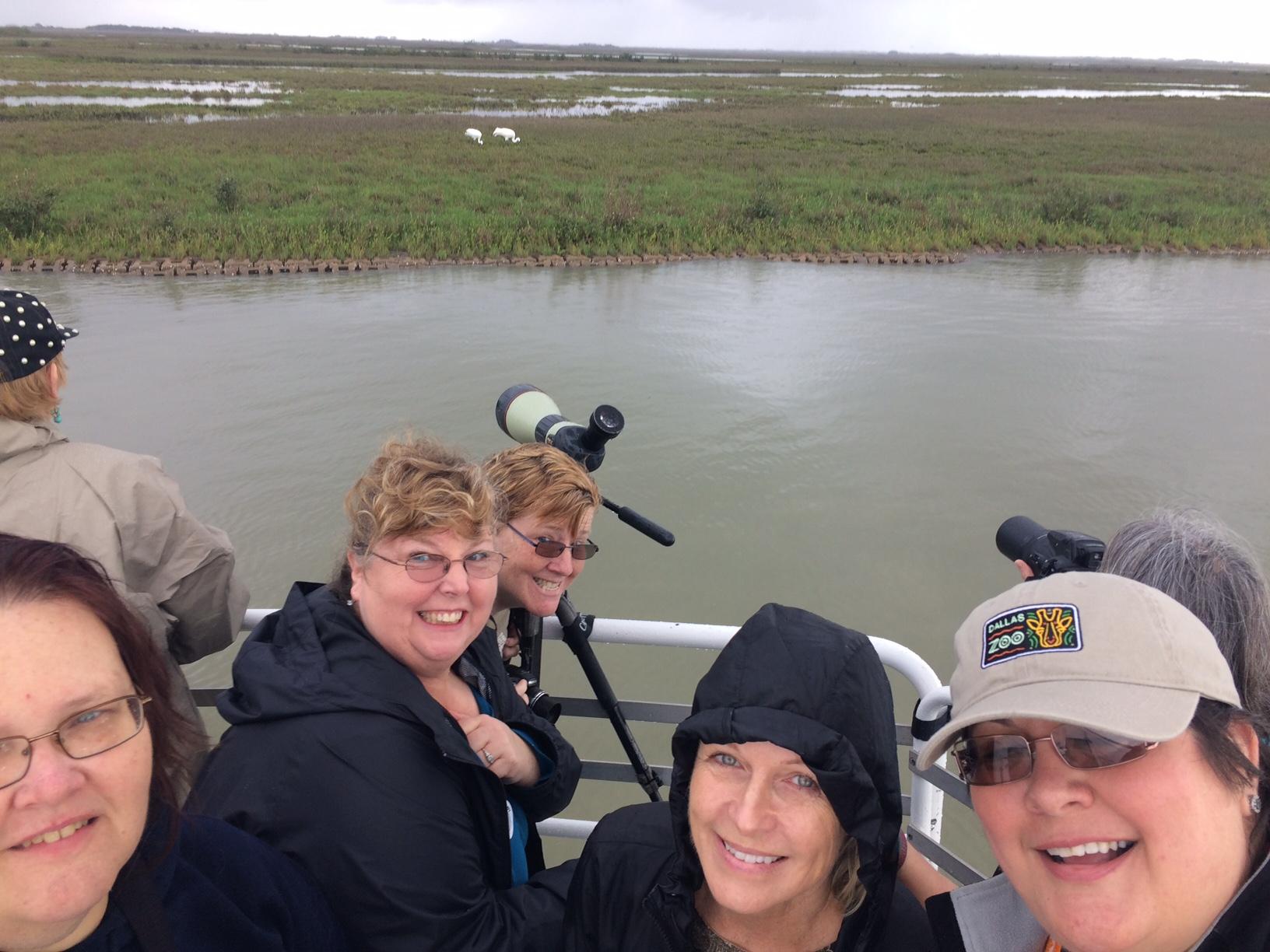 The team observes the endangered whooping crane in the Aransas National Wildlife Refuge
