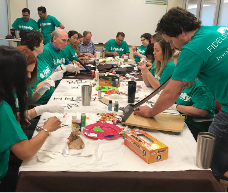 Fidelity volunteers from the Westlake campus make magnets